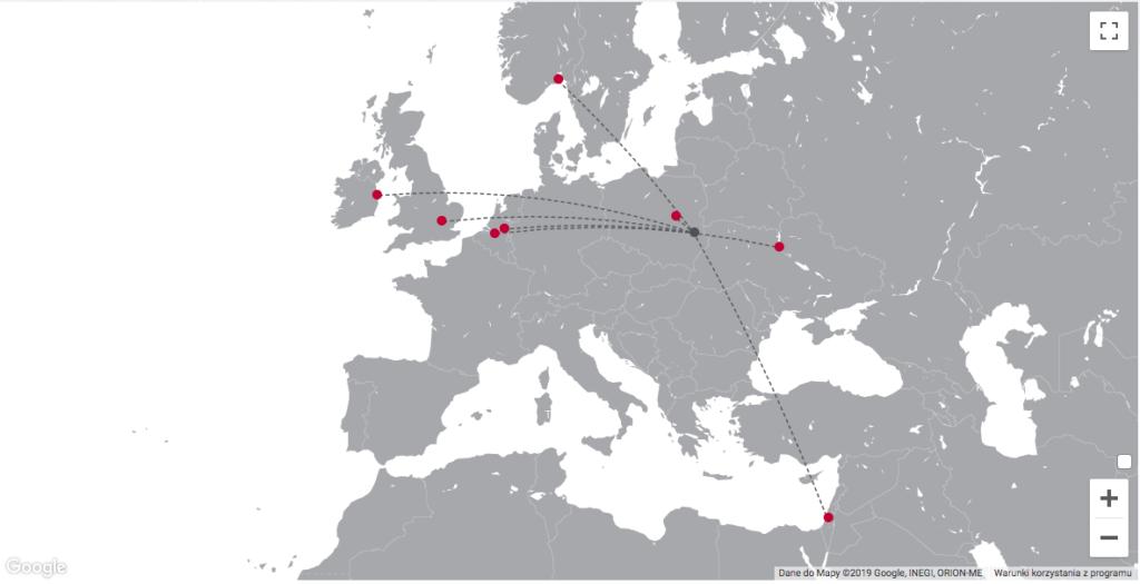 mapa połączeń lotnisko Świdnik