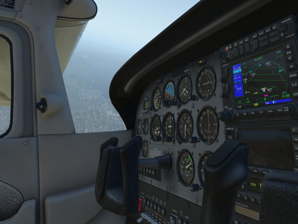 X-plane 11 widok z kokpitu